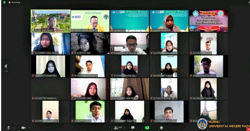 Mentri Nadiem dan Kapolda Hadiri PKKMB UNP Secara Daring